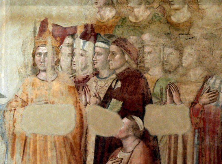 Данте Алигьери (в центре). Нач. XIV в.