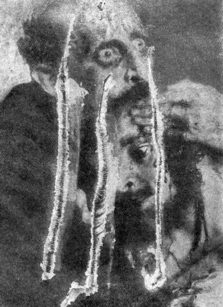 Фрагмент картины «Иван Грозный и сын его Иван 16 ноября 1581 года» после полученных повреждений. 1913