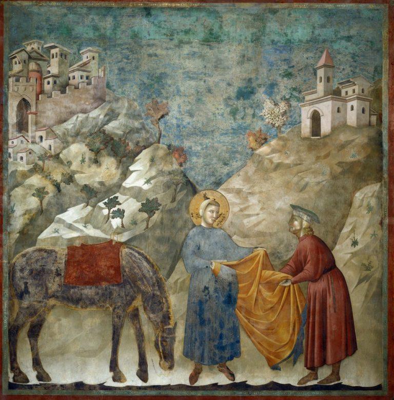 Франциск отдаёт свой плащ бедняку. Ок. 1296–1304