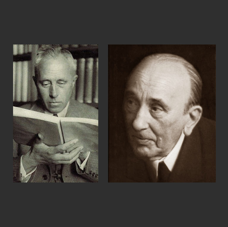 Слева: Йохан Хёйзинга (нидерл. Johan Huizinga; 1872 – 1945). Справа: Михаил Михайлович Бахтин (1895-1975)