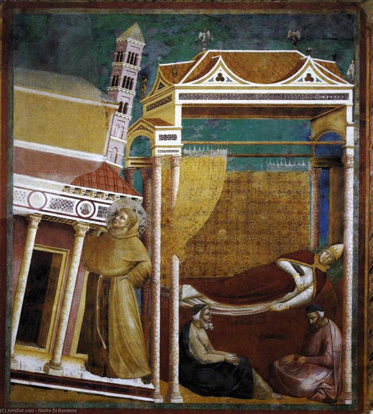 Иннокентию III является во сне Франциск, поддерживающий церковь. Ок. 1296–1304