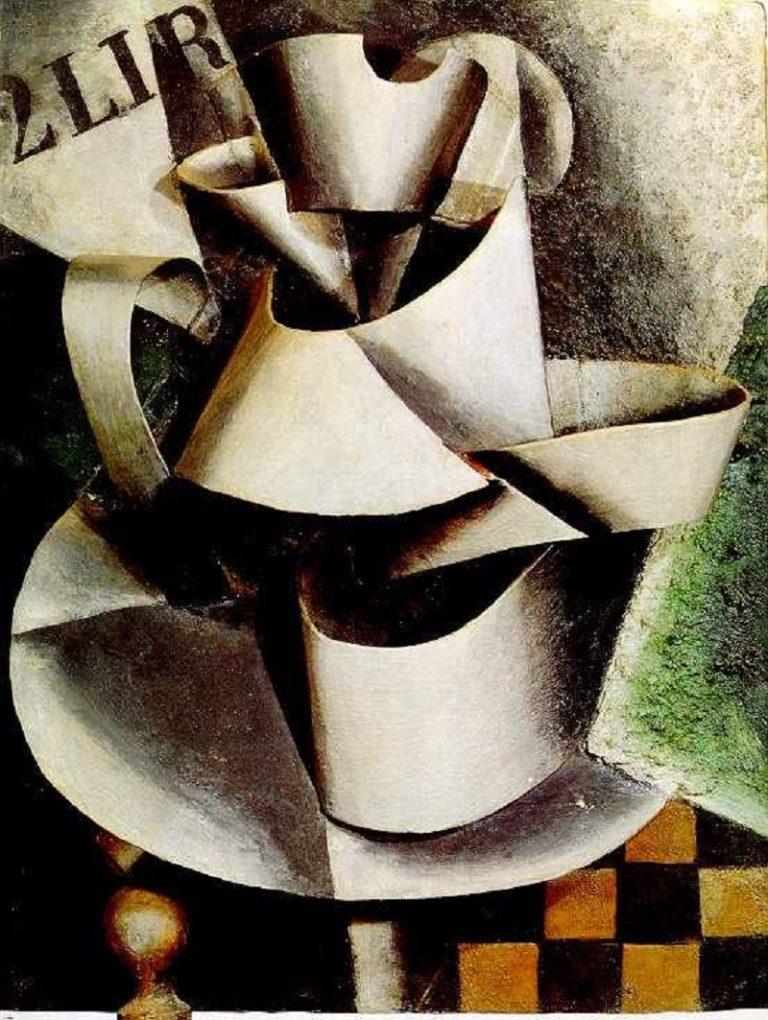 Кувшин на столе. Пластическая живопись. 1915