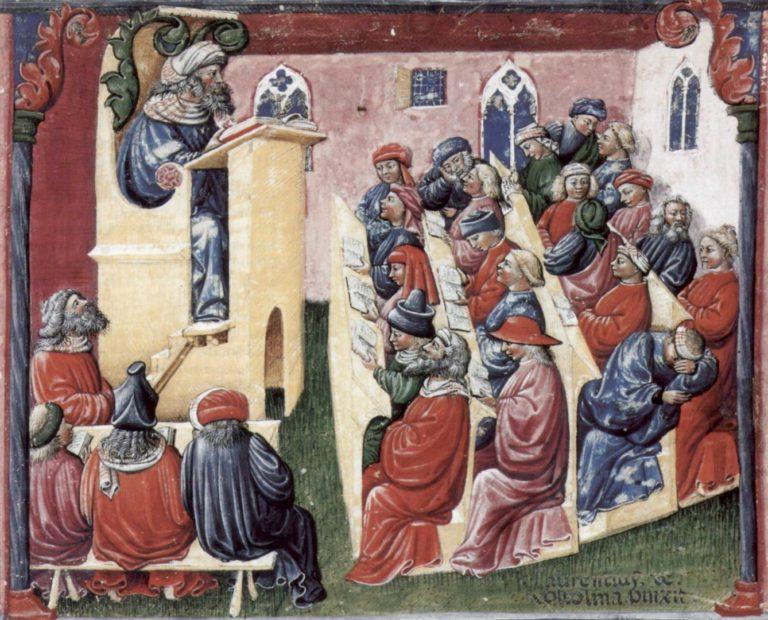 Лекция Генриха Алеманского в Болонском университете. Ок. 1360–1390