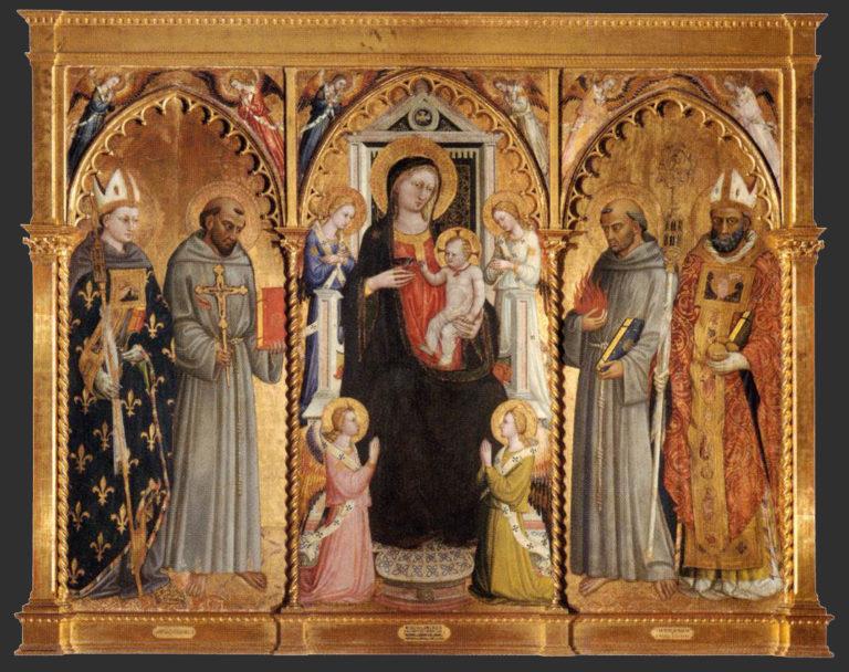Мадонна с Младенцем, святыми и ангелами. 1420-е