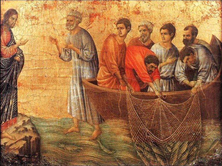 Маэста. Фрагмент. Чудесный улов. 1308–1311