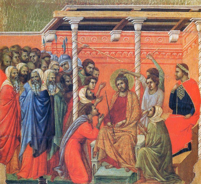 Маэста. Фрагмент. Коронование тернием и поругание Христа. 1308–1311