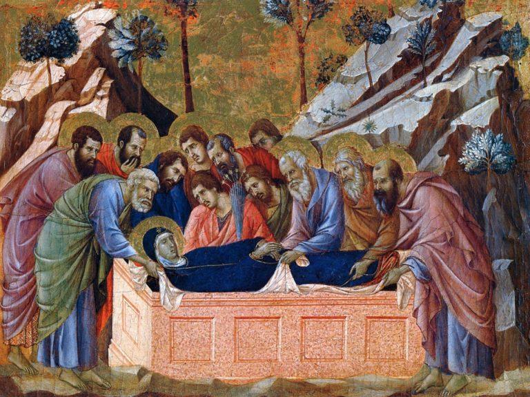 Маэста. Фрагмент. Погребение Богородицы. 1308–1311