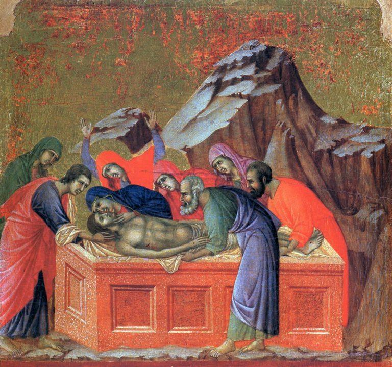 Маэста. Фрагмент. Положение во гроб. 1308–1311