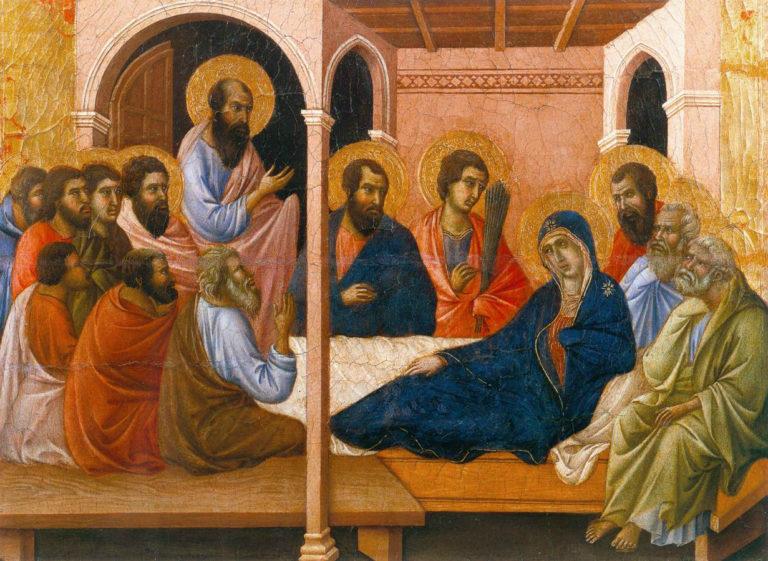 Маэста. Фрагмент. Прощание апостолов с Богородицей. 1308–1311