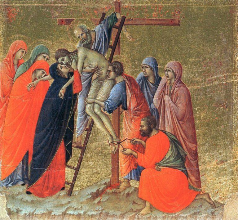 Маэста. Фрагмент. Снятие с креста. 1308–1311