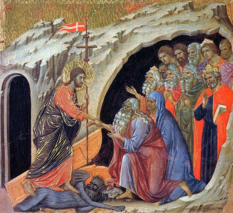 Маэста. Фрагмент. Воскресение. Сошествие во ад. 1308–1311