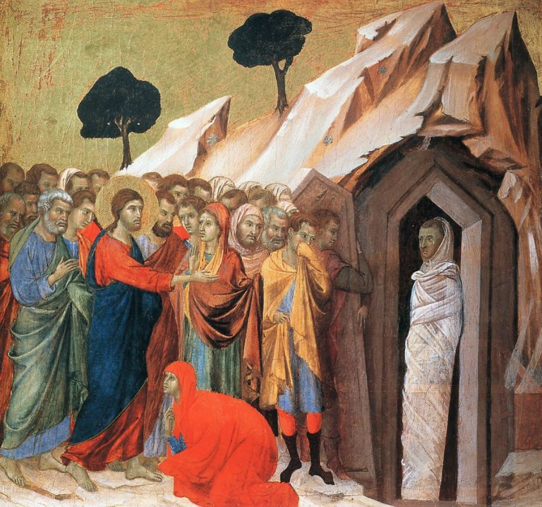 Маэста. Фрагмент. Воскрешение Лазаря. 1308–1311