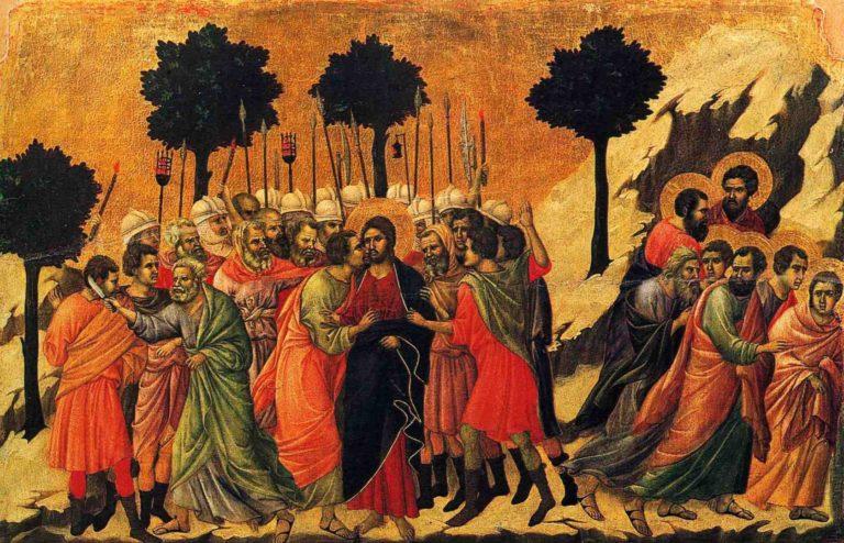 Маэста. Фрагмент. Взятие Христа под стражу. 1308–1311