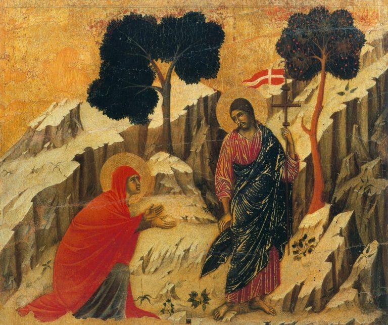 Маэста. Фрагмент. Явление Христа Марии Магдалине. 1308–1311