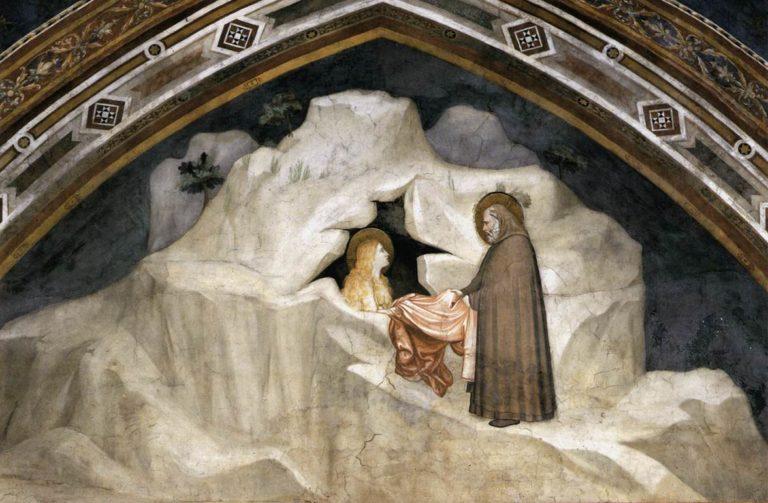 Магдалина получает одежду из рук старца Зосимы. Ок. 1320
