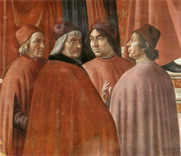 Марсилио Фичино (крайний слева). 1486–1490