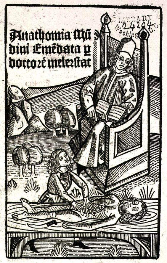 Мондино де Луцци руководит вскрытием. 1493