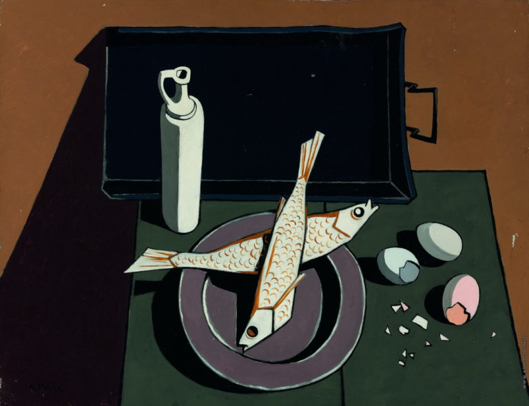 Натюрморт с рыбой и яйцами. 1955