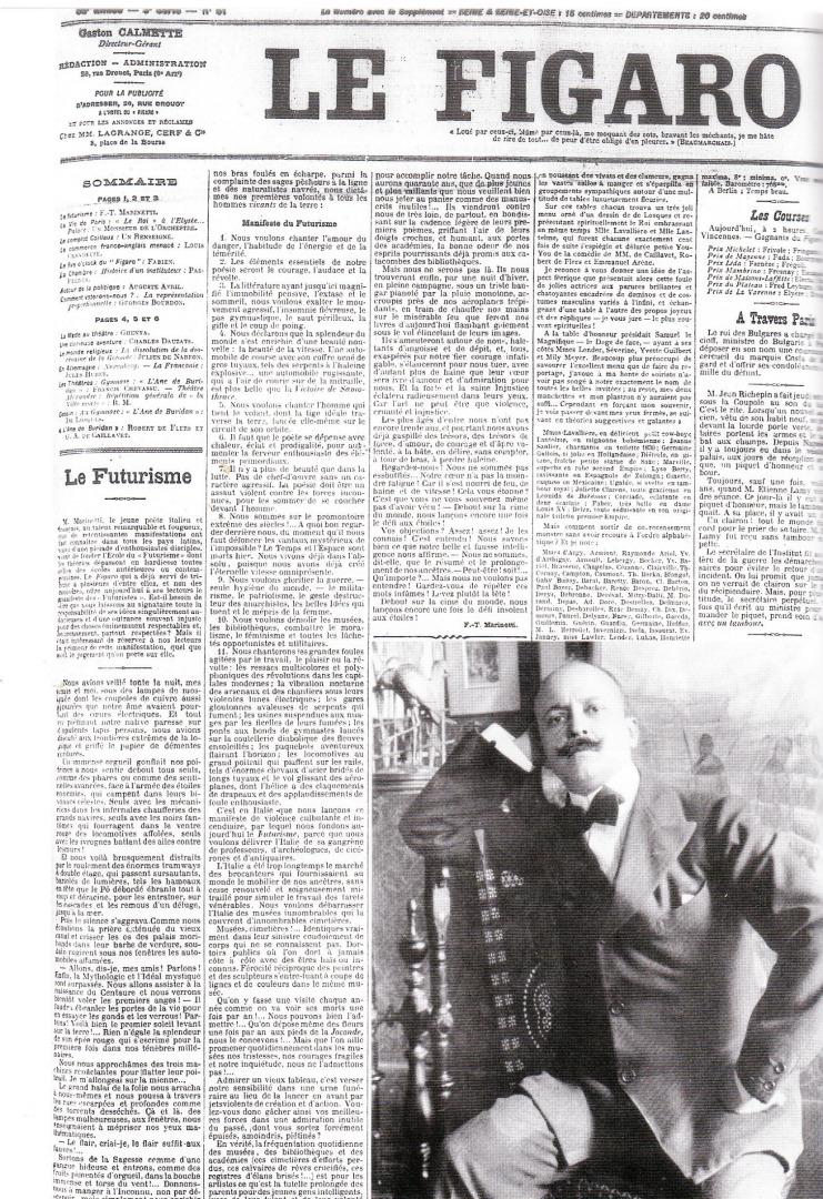 Номер французской газеты Le Figaro с манифестом футуризма и портретом Филиппо Томмазо Маринетти. 1909