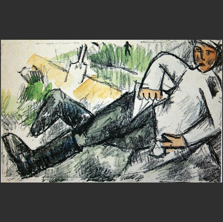 Отдыхающий солдат. Эскиз. 1912