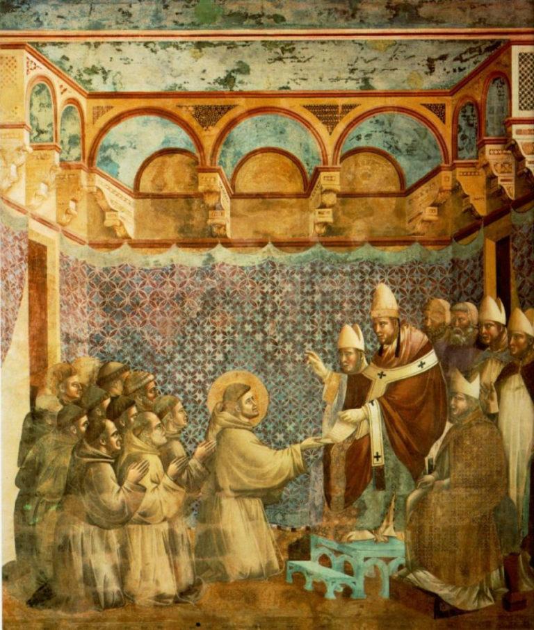 Папа утверждает устав францисканского ордена. Ок. 1296–1304