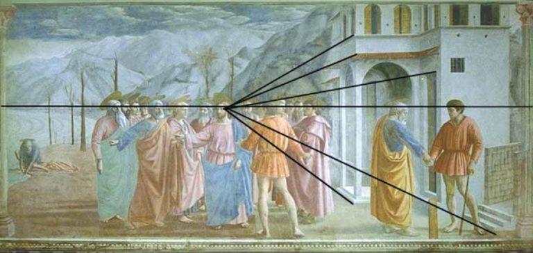 Перспективное построение фрески «Чудо со статиром». Ок. 1425