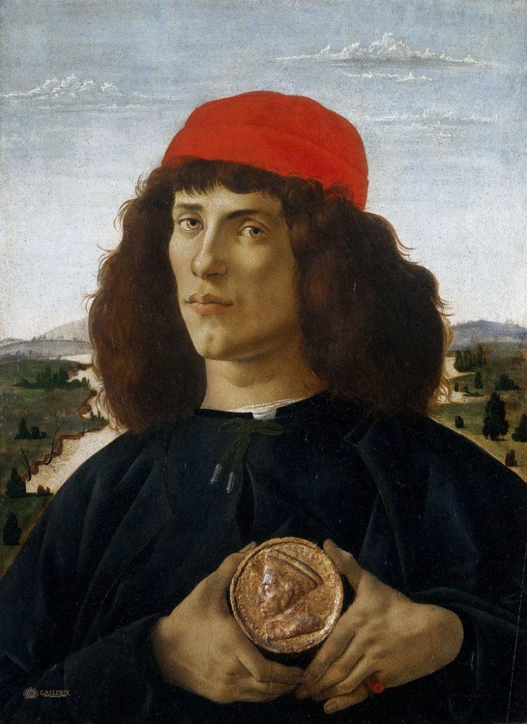 Портрет неизвестного с медалью Козимо Медичи Старшего. Ок. 1475
