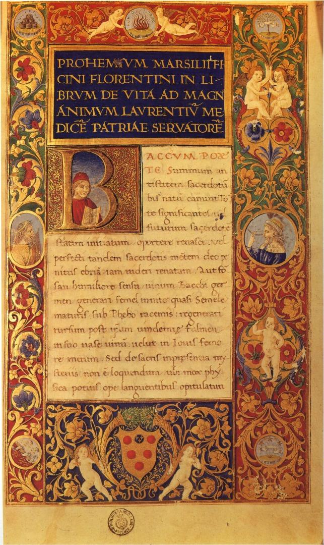Предисловие к книге Марсилио Фичино «О жизни». 1489