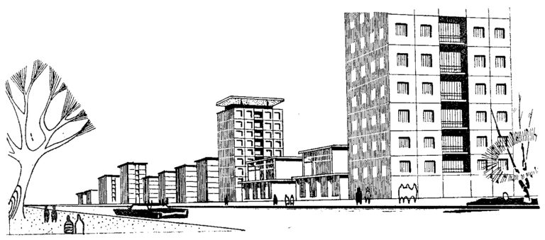 Рисунок к проекту застройки района Новые Кузьминки. 1958