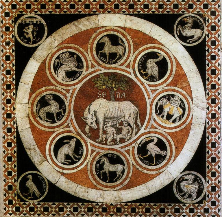 Сиенская волчица и символы союзных городов. XVI в.