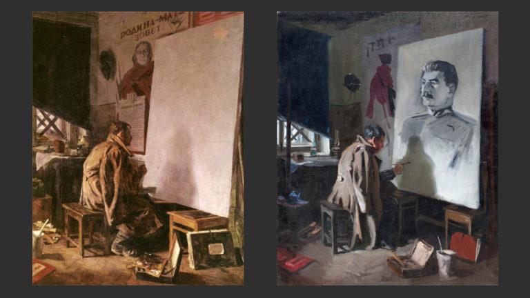 Слева: В дни войны. 1954. Справа: В дни войны. Эскиз. 1953