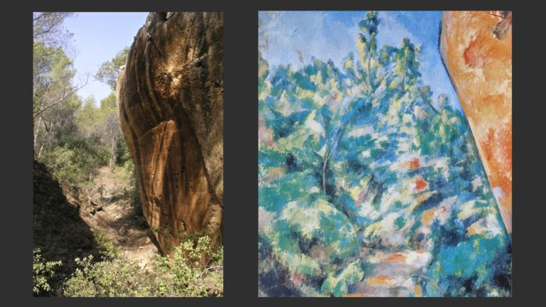 Слева: Каменные карьеры в Бибемю, Франция. Фото. Справа: Красная скала в Бибемю. Фрагмент. 1897