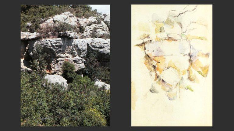 Слева: Скалы у Шато-Нуар, Франция. Фото. Справа: Скалы у Шато-Нуар. 1895–1900