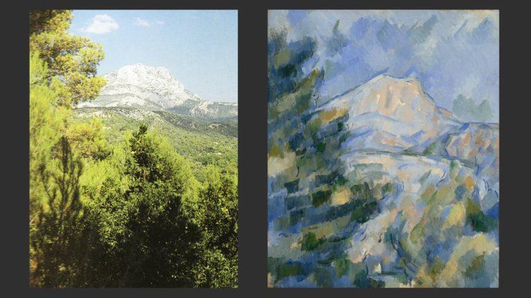 Слева: Вид на гору Сент-Виктуар. Фото. Справа: Гора Сент-Виктуар. 1904–1906