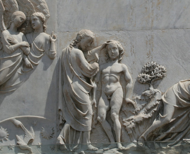 Сотворение Адама и Евы. Деталь. Творец и Адам. XIV в.