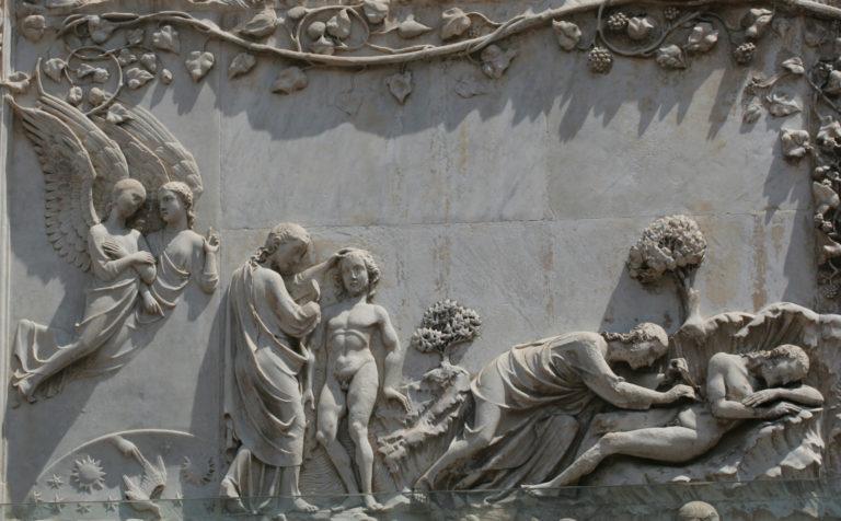 Сотворение Адама и Евы. XIV в.