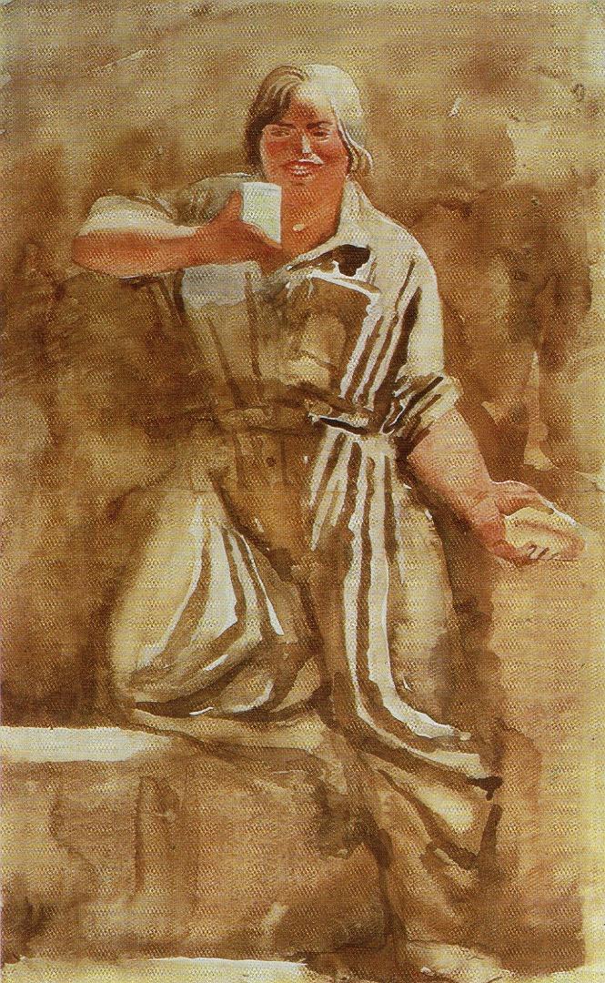 Стакан молока. Рисунок из серии «Метростроевки». 1934