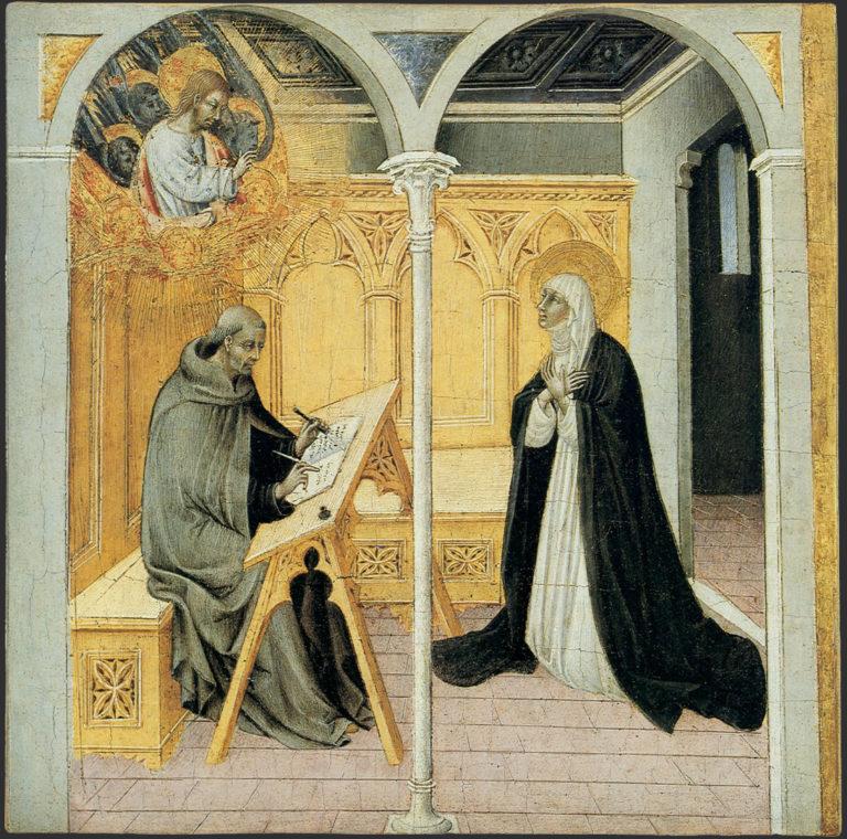 Св. Екатерина Сиенская, диктующая свои «Диалоги» Раймонду Капуанскому. Ок. 1460