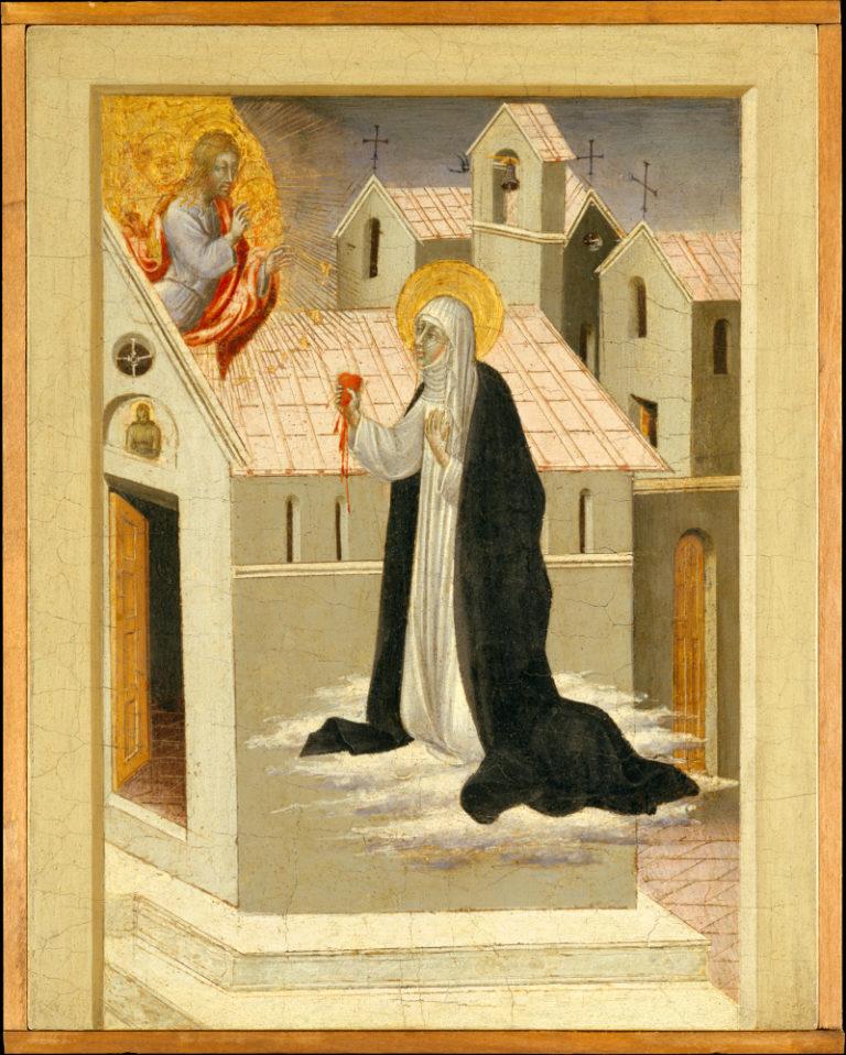 Св. Екатерина Сиенская обменивается сердцами с Христом. Ок. 1460