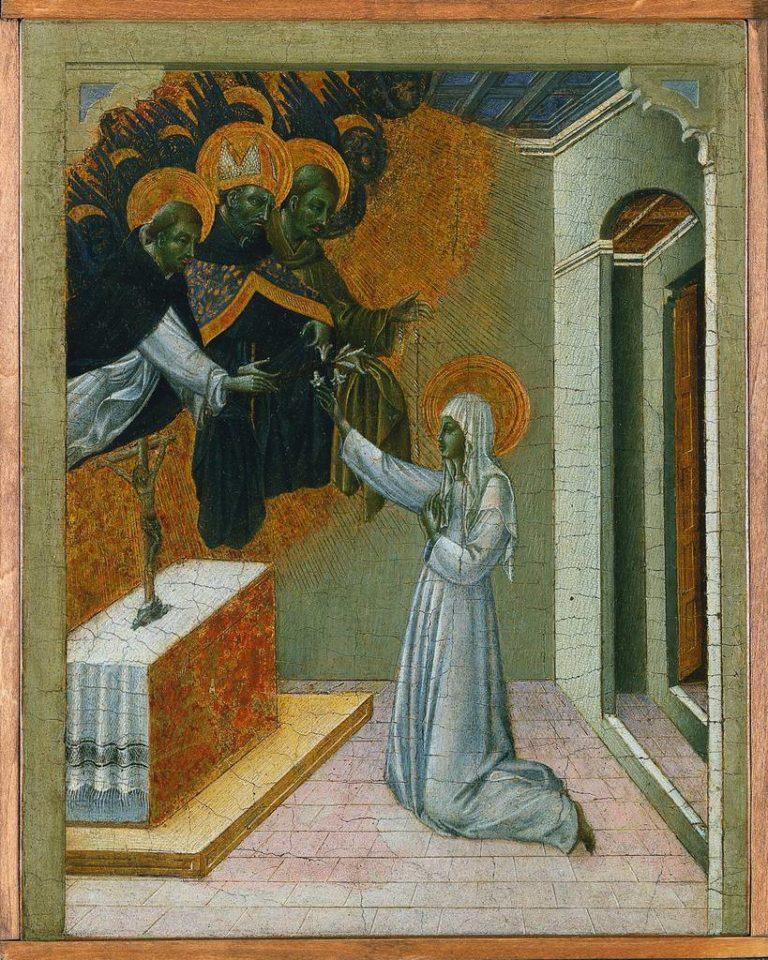 Св. Екатерина Сиенская, получающая от св. Доминика монашеское облачение. Ок. 1460
