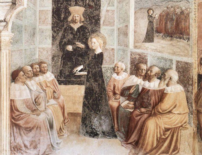 Св. Екатерина перед философами. 1428–1430
