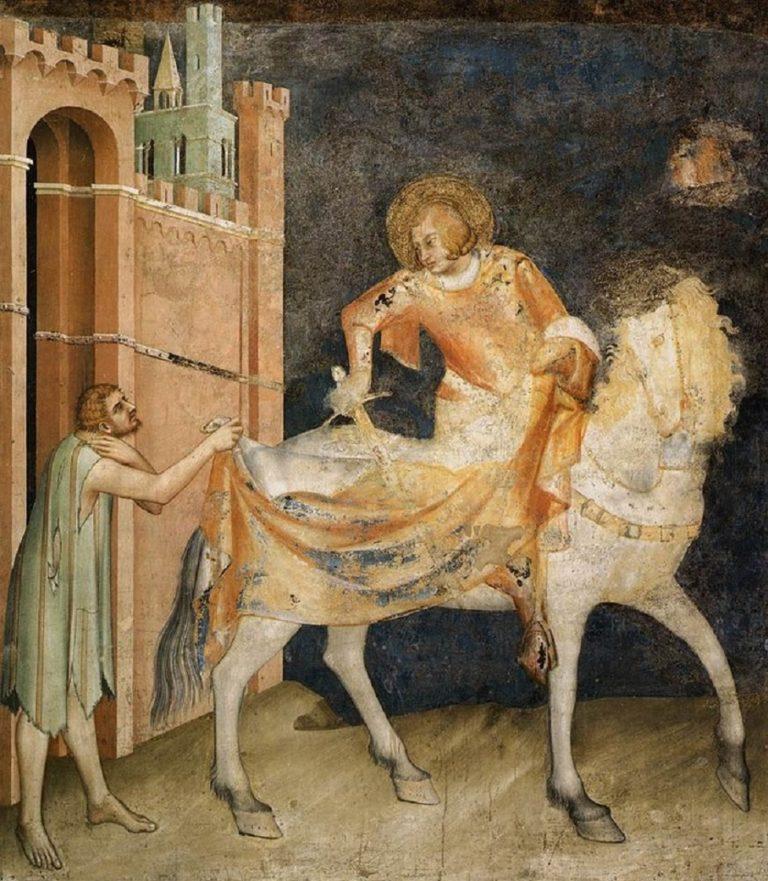 Св. Мартин отдает плащ нищему. 1313–1318
