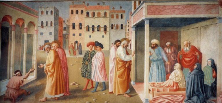 Святой Пётр, исцеляющий калеку и воскрешающий Тавифу. 1424–1425