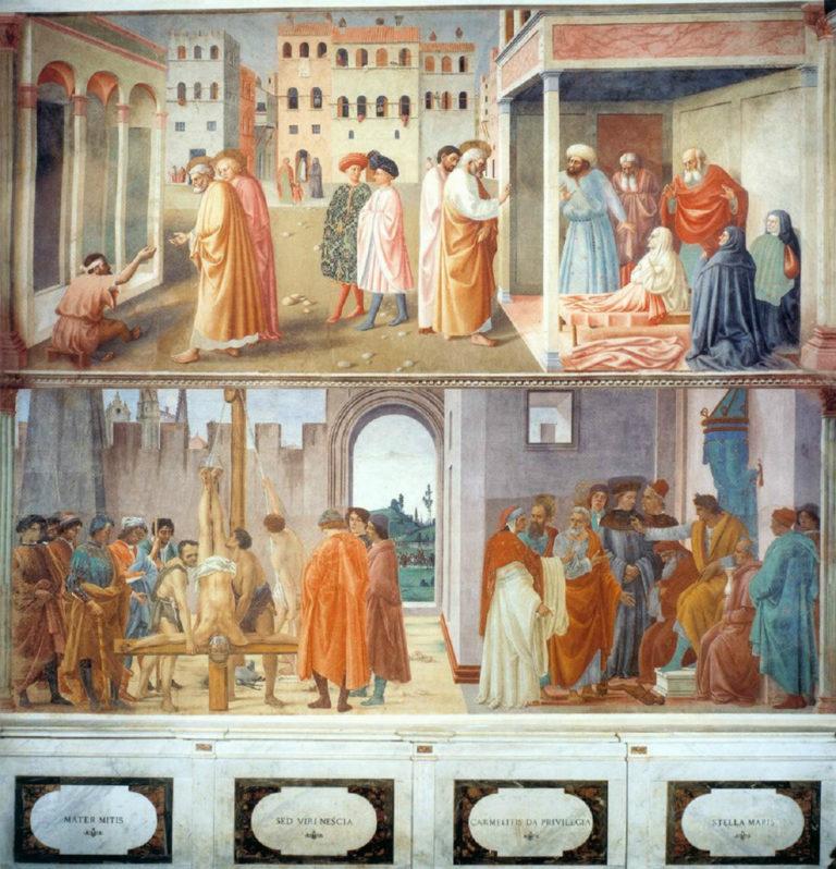 Святой Пётр, исцеляющий калеку и воскрешающий Тавифу. Диспут с Симоном Волхвом и распятие Петра. 1424–1480