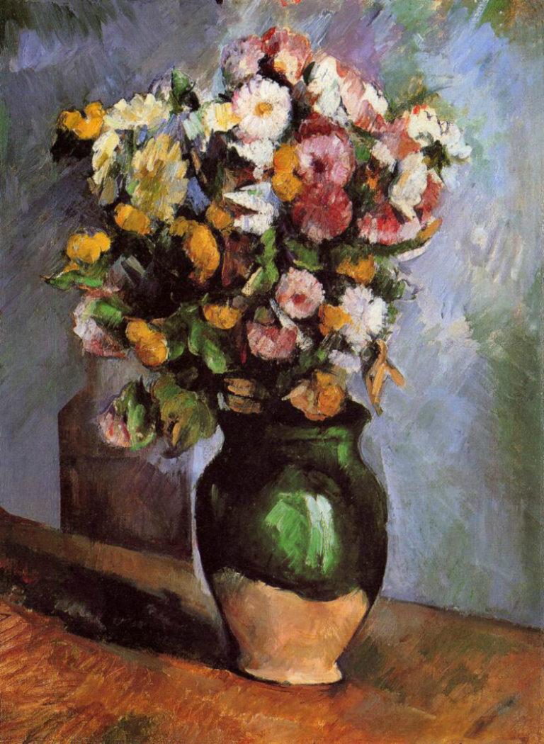 Цветы в оливковой вазе. 1880-е