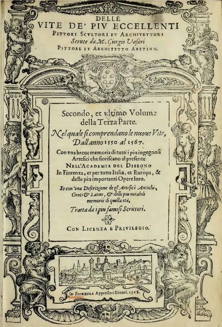 Титульный лист второго издания «Жизнеописаний…» Джорджо Вазари. Том 2. 1568