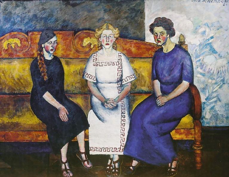 Три сестры на диване. Портрет Н., Л. и Е. Самойловых. 1911