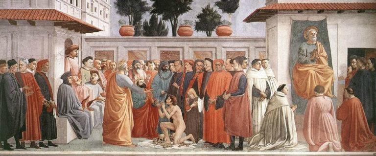 Воскрешение сына Теофила и апостол Пётр на кафедре. 1427–1480