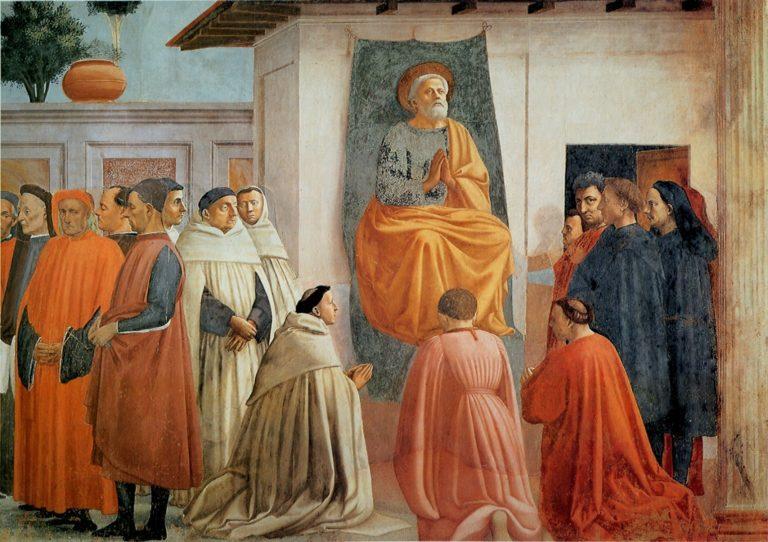 Воскрешение сына Теофила и апостол Пётр на кафедре. Фрагмент. 1427–1480