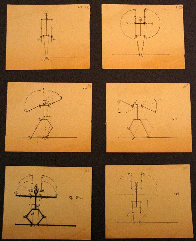 Записи к занятиям в Мастерской «Проекционного театра»: понятие движения, графические рисунки. 1926